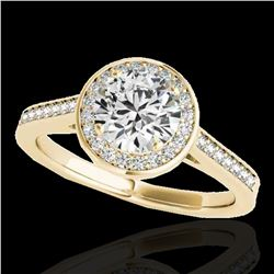 1.33 ctw Certified Diamond Solitaire Halo Ring 10k Yellow Gold