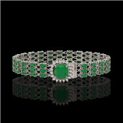 31.91 ctw Emerald & Diamond Bracelet 14K White Gold