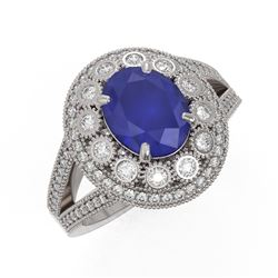 4.55 ctw Certified Sapphire & Diamond Victorian Ring 14K White Gold
