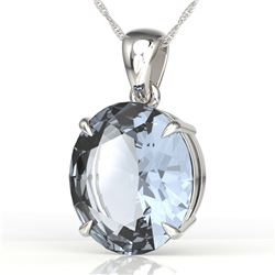 9 ctw Aquamarine Designer Solitaire Necklace 18k White Gold