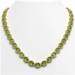 48.14 ctw Peridot & Diamond Micro Pave Halo Necklace 10k Yellow Gold