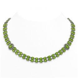 38.1 ctw Peridot & Diamond Necklace 14K White Gold
