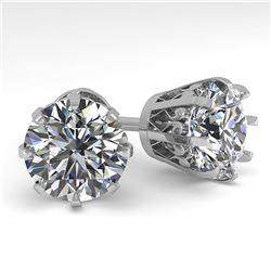 4 ctw VS/SI Diamond Stud Solitaire Earrings Vintage 18K White Gold