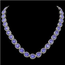 44.8 ctw Tanzanite & Diamond Micro Pave Halo Necklace 10k White Gold