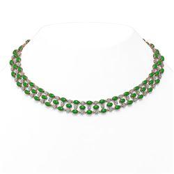 26.75 ctw Jade & Diamond Necklace 10K Rose Gold