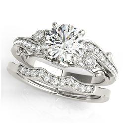 1.57 ctw Certified VS/SI Diamond 2pc Wedding Set Antique 14k White Gold