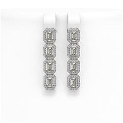 4.52 ctw Emerald Cut Diamond Micro Pave Earrings 18K White Gold