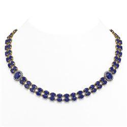 66.67 ctw Sapphire & Diamond Necklace 14K Yellow Gold
