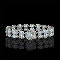 14.44 ctw Aquamarine & Diamond Bracelet 14K White Gold