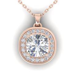 1.25 ctw Cushion VS/SI Diamond Art Deco Necklace 14k Rose Gold