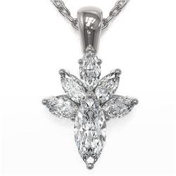 1.5 ctw Marquise Cut Diamond Designer Necklace 18K White Gold