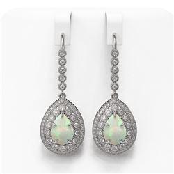 8.29 ctw Certified Opal & Diamond Victorian Earrings 14K White Gold