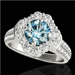 2.16 ctw SI Certified Fancy Blue Diamond Halo Ring 10k White Gold