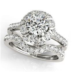1.97 ctw Certified VS/SI Diamond 2pc Wedding Set Halo 14k White Gold