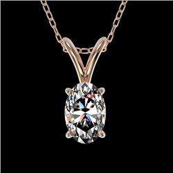 0.50 ctw Certified VS/SI Quality Oval Diamond Necklace 10k Rose Gold