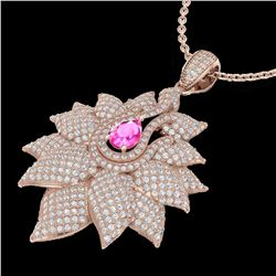 3 ctw Pink Sapphire & Micro Pave VS/SI Diamond Necklace 14k Rose Gold