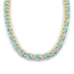 61.85 ctw Sky Blue Topaz & VS/SI Certified Diamond Necklace 10k Yellow Gold