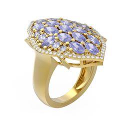6.14 ctw Tanzanite & Diamond Ring 18K Yellow Gold
