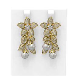 3.05 ctw Diamond & Pearl Earrings 18K Yellow Gold