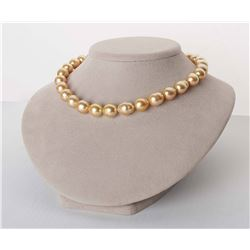 """18K Deep Golden South Sea Baroque Pearl Necklace, 18"""", 12.0-13.4mm, AA+/AAA Quality"""