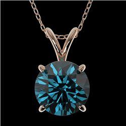 1.50 ctw Certified Intense Blue Diamond Necklace 10k Rose Gold