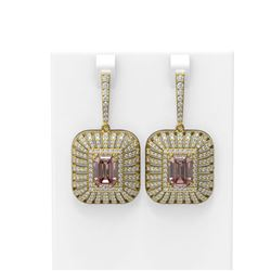 14.67 ctw Morganite & Diamond Earrings 18K Yellow Gold