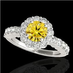 1.75 ctw Certified SI/I Fancy Intense Yellow Diamond Ring 10k White Gold
