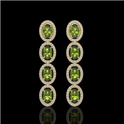 5.88 ctw Tourmaline & Diamond Micro Pave Halo Earrings 10k Yellow Gold