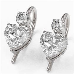 1.25 ctw Heart Diamond Designer Earrings 18K White Gold