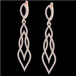 1.90 ctw Micro Pave VS/SI Diamond Certified Earrings 14k Rose Gold
