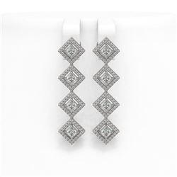 4.01 ctw Princess Cut Diamond Micro Pave Earrings 18K White Gold