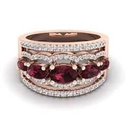 2.25 ctw Garnet & Micro Pave VS/SI Diamond Designer Ring 10k Rose Gold
