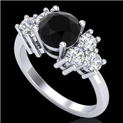 1.51 ctw Fancy Black Diamond Engagment Art Deco Ring 18k White Gold