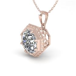 0.50 ctw Certified VS/SI Diamond Necklace Art Deco 14k Rose Gold