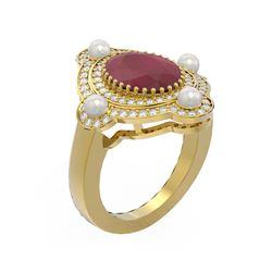 4.78 ctw Ruby & Diamond Ring 18K Yellow Gold