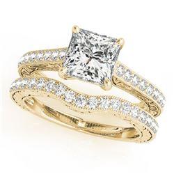 1.15 ctw Certified VS/SI Princess Diamond 2pc Set 14k Yellow Gold