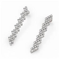 4.38 ctw Baguette Cut Diamond Designer Earrings 18K White Gold