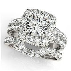 3.01 ctw Certified VS/SI Diamond 2pc Wedding Set Halo 14k White Gold