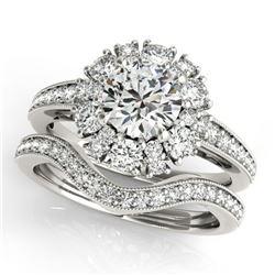 1.94 ctw Certified VS/SI Diamond 2pc Wedding Set Halo 14k White Gold