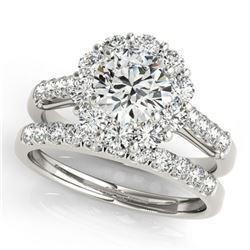 2.14 ctw Certified VS/SI Diamond 2pc Wedding Set Halo 14k White Gold