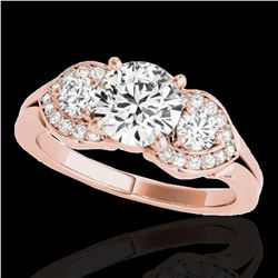 1.7 ctw Certified Diamond 3 Stone Solitaire Ring 10k Rose Gold