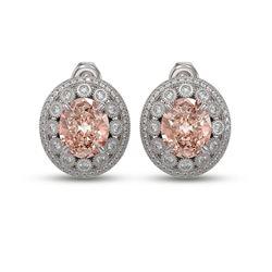 13.41 ctw Morganite & Diamond Victorian Earrings 14K White Gold