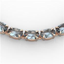 29 ctw Aquamarine Eternity Tennis Necklace 14k Rose Gold