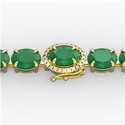 37 ctw Emerald & VS/SI Diamond Micro Pave Bracelet 14k Yellow Gold