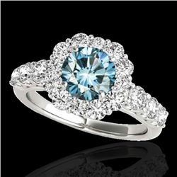 2.9 ctw SI Certified Fancy Blue Diamond Solitaire Halo Ring 10k White Gold