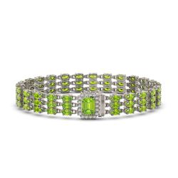 25.34 ctw Peridot & Diamond Bracelet 14K White Gold
