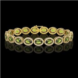 13.87 ctw Tourmaline & Diamond Micro Pave Halo Bracelet 10k Yellow Gold