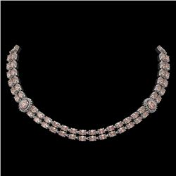 36.2 ctw Morganite & Diamond Necklace 14K White Gold