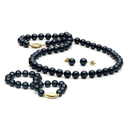 Black Akoya Pearl 3-Piece Jewelry Set, 6.5-7.0mm