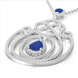 3.20 ctw Sapphire & Micro Pave Diamond Heart Necklace 14k White Gold